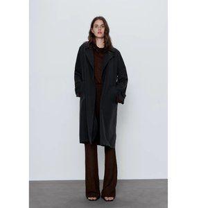 NWT Zara Size S Black Flowy Trench Coat W Pockets